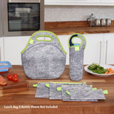 "12"" GREY MELANGE LUNCH BAG SET"