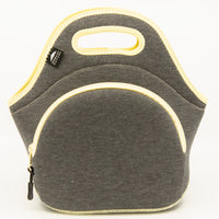 "12"" Cotton Lunch Bag Grey/Yellow"