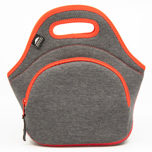 "12"" Cotton Lunch Bag Grey/Red"