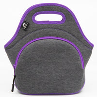 "12"" Cotton Lunch Bag Grey/Purple"