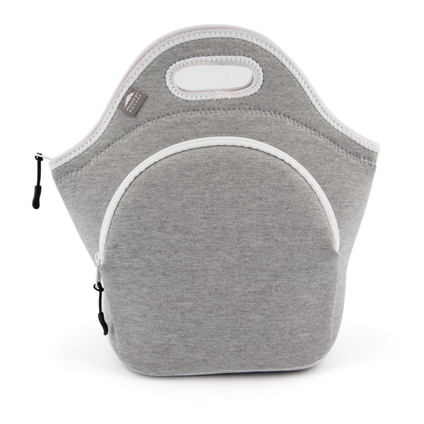 "13.5"" Cotton Lunch Bag White/Gray"