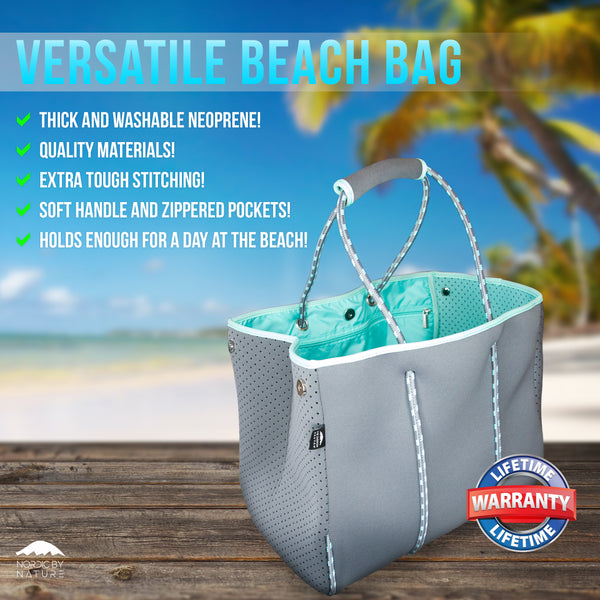 Versatile Beach Tote / Gym Bag - Perfect Bag For All Purposes - Grey/Turquoise