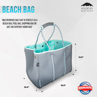 NEW Versatile Beach & Pool Bag - Perfect Bag For All Purposes - Grey/Turquoise