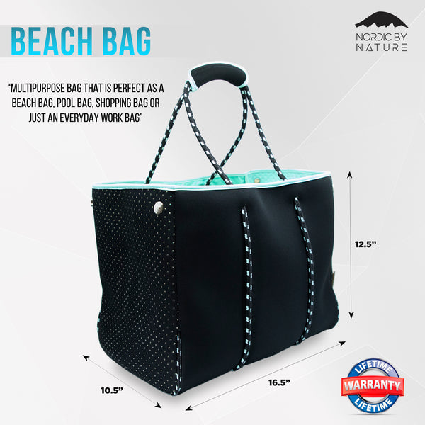 Versatile Beach Tote / Gym Bag - Perfect Bag For All Purposes - Black/Turquoise