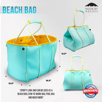 NEW Versatile Beach & Pool Bag - Perfect Bag For All Purposes - Turquoise/Yellow