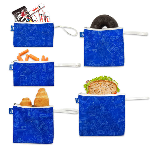 Nordic By Nature Reusable Sandwich Bag Snack Bags - Value Pack of 5 Dual Layer Lunch Baggies - Dishwasher Safe - Eco Friendly Cloth Wraps - Easy Open Zipper For Kids (Gamer Blue)…