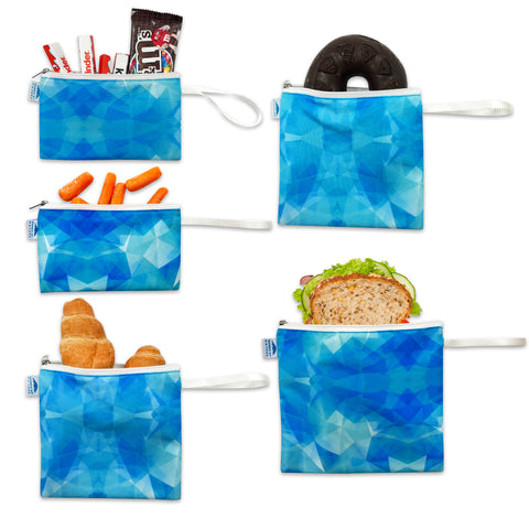 Nordic By Nature Reusable Sandwich Bag Snack Bags - Value Pack of 5 Dual Layer Lunch Baggies - Dishwasher Safe - Eco Friendly Cloth Wraps - Easy Open Zipper For Kids (Blue Ice)