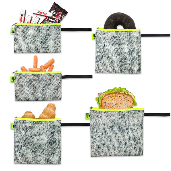 Nordic By Nature Reusable Sandwich Bag Snack Bags - Value Pack of 5 Dual Layer Lunch Baggies - Dishwasher Safe - Eco Friendly Cloth Wraps - Easy Open Zipper For Kids (Grey/Neon)…