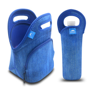 "12"" BLUE DENIM LUNCH BAG SET"