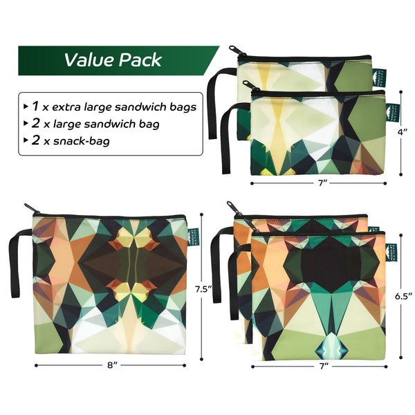 Nordic By Nature Reusable Sandwich Bag Snack Bags - Value Pack of 5 Dual Layer Lunch Baggies - Dishwasher Safe - Eco Friendly Cloth Wraps - Easy Open Zipper For Kids (Mosaic Camo)