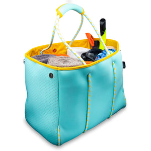 Versatile Beach Tote / Gym Bag - Perfect Bag For All Purposes - Turquoise/Yellow