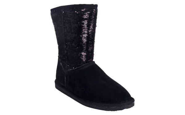 Snooki's Sheepskin Black Sequin Boots