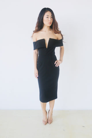 Do + Be Black Off Shoulder Dress with Deep V