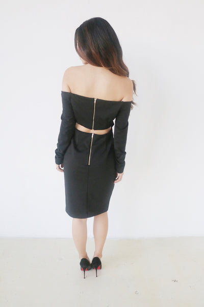 Do + Be Black Off Shoulder Longsleeve Dress