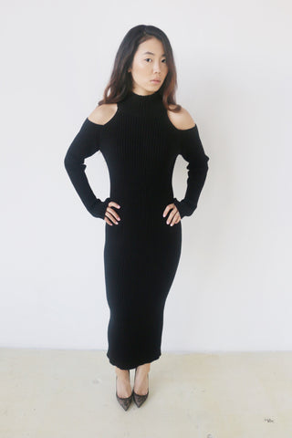 Do + Be Black Open Shoulder Sweater Dress