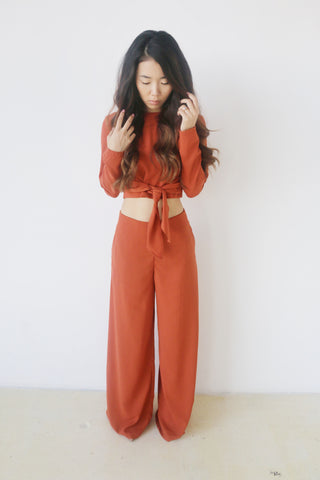Do + Be Rust Crop Top and Pants Set