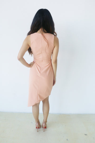 Do + Be Salmon Asymmetrical Dress with Front Cutout