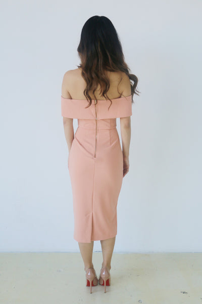 Do + Be Salmon Off Shoulder Dress with Deep V
