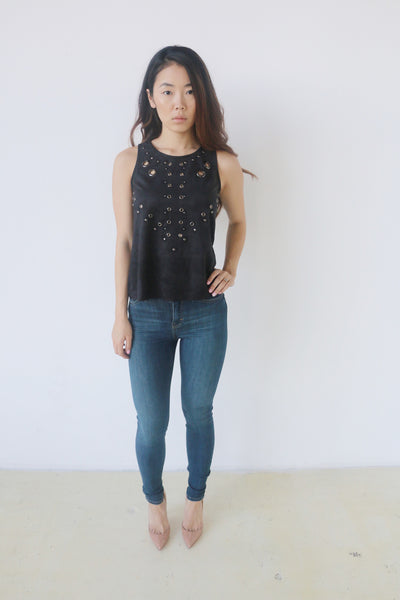 Blush Noir Black Suede Top with Grommets