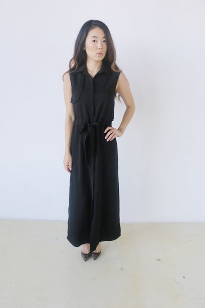 Six Crisp Days Black Sleevless Button Down Dress