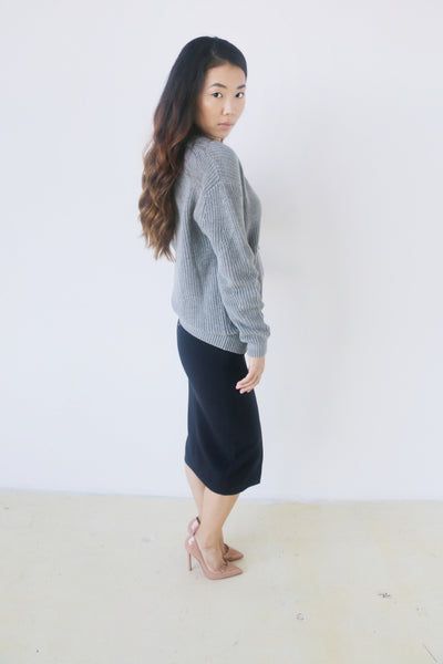 J.O.A. Gray Lace Up Sweater