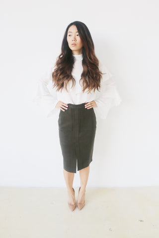 J.O.A. Olive Woven Skirt