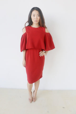 Do + Be Brick Cold Shoulder Dress