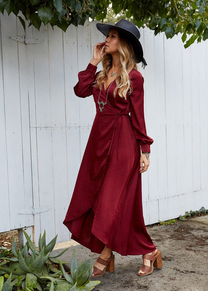 Lost + Wander Silky Wrap Dress