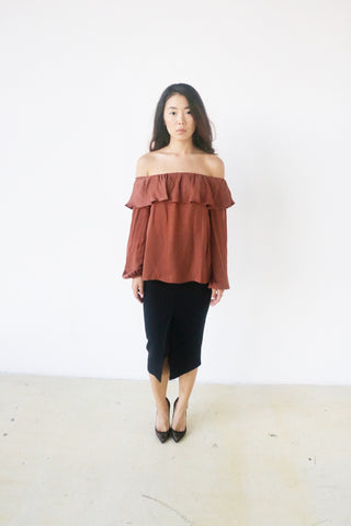 Do + Be Blush Ruffle off shoulder top