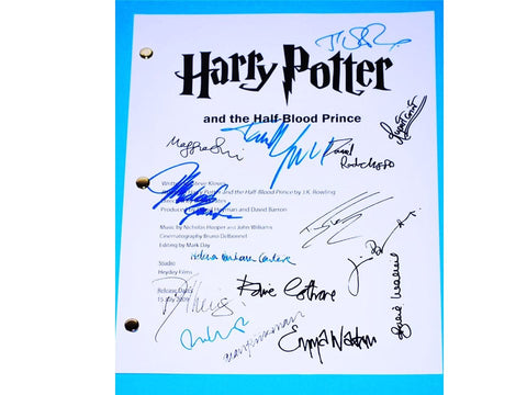 Harry Potter and the Half-Blood Prince Movie Script Screenplay, Autographs Danielle Radcliffe, Emma Watson, Rupert Grint, J.K. Rowling