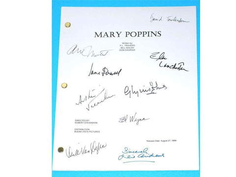 MARY POPPINS Signed Movie Script Screenplay Autographed Julie Andrews, Dick Van Dyke, Glynis Johns, David Tomlinson, Ed Wynn