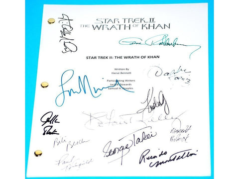 Star Trek II, The Wrath Of Khan Movie Script Signed Autographed Gene Roddenberry, William Shatner, Leonard Nimoy, DeForest Kelly