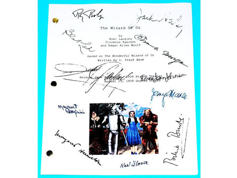 The Wizard of Oz Movie Script Signed Autographed Judy Garland, Ray Bolger, Bert Lahr, Jack Haley, Frank Morgan, Margaret Hamilton