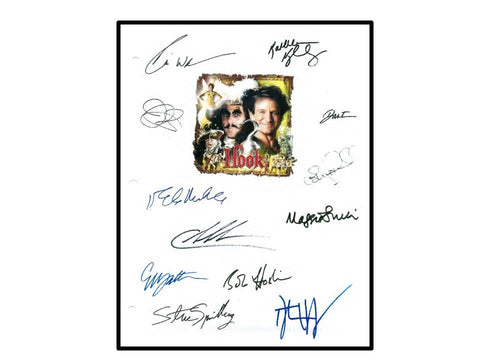 Hook Movie Script Autographed Signed Robin Williams, Dustin Hoffman, Julia Roberts, Bob Haskins, Gwyneth Paltrow, Maggie Smith