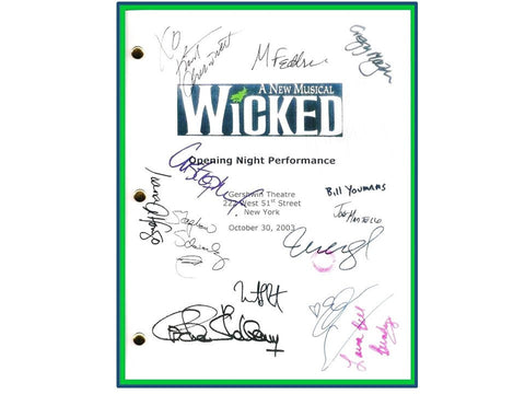 Wicked Broadway Opening Night Script Signed Autographed Idina Menzel, Kristin Chenoweith, Stephen Schwartz