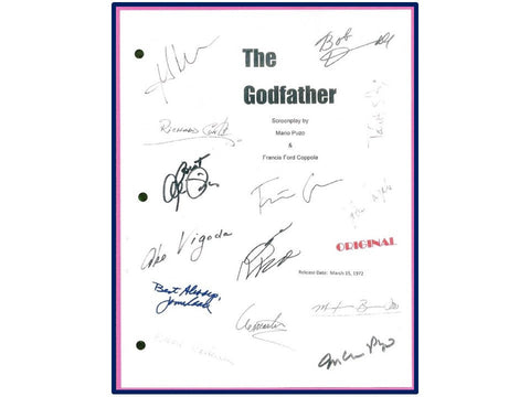 The Godfather Movie Script Signed Autographed Marlon Brando, Al Pacino, James Caan, Mario Puzo, Francis Ford Coppola, Robert Duvall