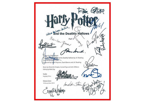 Harry Potter and The Deathly Hallows Pt. 1 Signed Script Reprint Screenplay Daniel Radcliffe Emma Watson Robbie Coltrane Rupert Grint