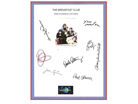 The Breakfast Club Movie Script Signed Screenplay Autographed: Molly Ringwald, Emilio Estevez, Judd Nelson, Anthony Michael Hall