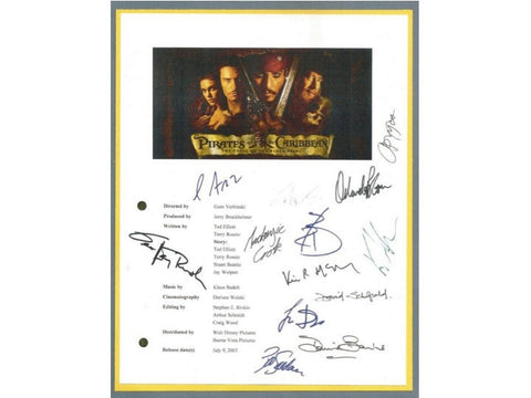 Pirates of the Caribbean Movie Script Signed Screenplay Autographed Johnny Depp, Geoffrey Rusch, Kevin McNally, Orlando Bloom