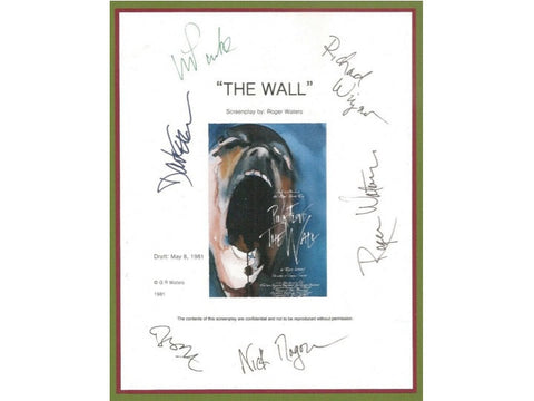 "Pink Floyd ""The Wall"" Entire Movie Script Signed Screenplay Autographed Roger Waters, David Gilmour, Richard Wright, Nick Mason, Alan Parker"