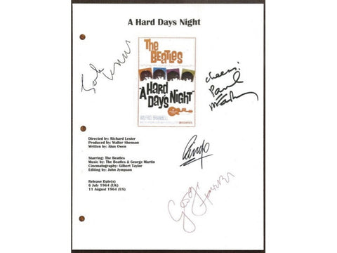 "The Beatles ""A Hard Day's Night"" Movie Script Signed Screenplay Autographed: John Lennon, George Harrison, Paul McCartney, Ringo Starr"
