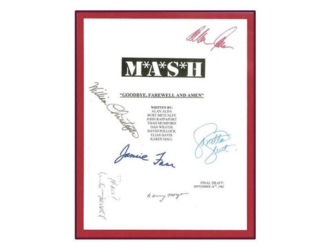"MASH ""Goodbye, Farewell and Amen"" Final Episode Movie Script Signed Autographed: Alan Alda, Loretta Swit, Jamie Farr, Bill Christopher"