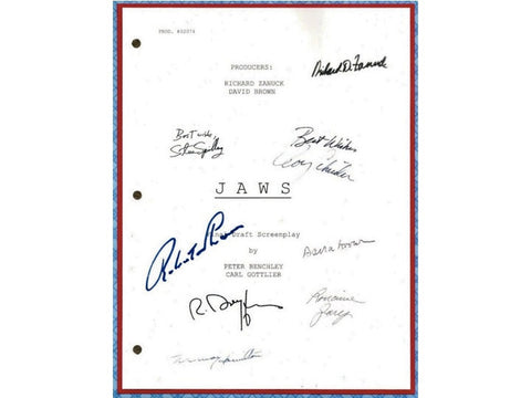 Jaws Movie Script Signed Autographed Steven Spielberg, Roy Scheider, Richard Dreyfuss, Robert Shaw, Lorraine Gary, Murray Hamilton