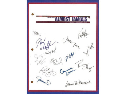 Almost Famous Movie Script Signed Autographed Patrick Fugit, Billy Crudup, Cameron Crowe, Frances McDormand, Kate Hudson, Jason Lee