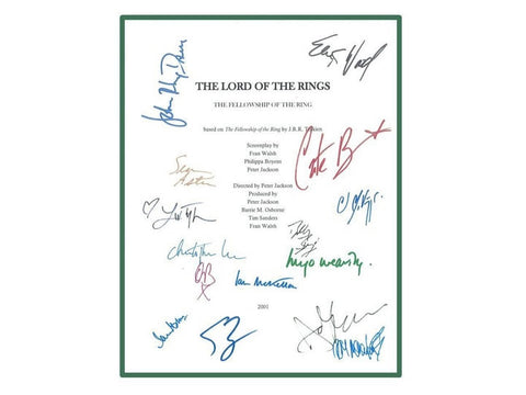 The Lord of the Rings Movie Script Signed Screenplay Autographed: Elijah Wood, Ian McKellan, Liv Tyler, Orlando Bloom, Viggo Mortensen