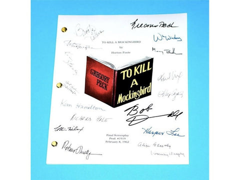 To Kill a Mockingbird Movie Script Screenplay by Horton Foote, Signed: Gregory Peck, Robert Duvall, Brock Peters, Harper Lee, Mary Badham