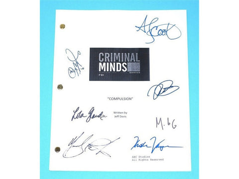 "Criminal Minds ""Compulsion"" TV Script Screenplay Autographed Thomas Gibson, Matthew Gray Gubler, Shemar Moore, Mandy Patinkin"