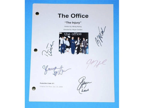 "The Office ""The Injury"" TV Script Screenplay Autographed: Steve Carell, John Krasinski, Jenna Fischer, Rainn Wilson, B.J. Novack"