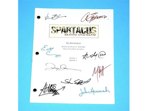 "Spartacus Pilot ""The Red Serpent"" TV Script Screenplay Autographed: Steven S. Deknight, Andy Whitfield, Lucy Lawless, Manu Bennett"