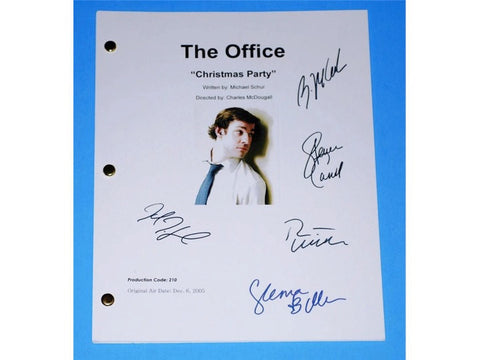 "The Office ""Christmas Party"" TV Script Screenplay Autographed: Steve Carell, John Krasinski, Jenna Fischer, Rainn Wilson, B.J. Novack"